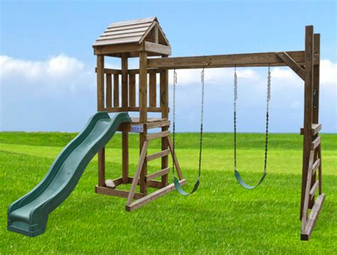 small wooden swing the bungalow playset