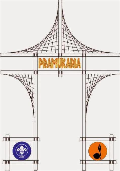 desain gapura pramuka gapura tenda pionering dengan aksesoris jalinan tali pramuka