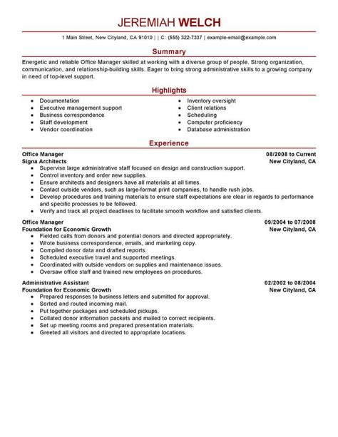 best resume format for office manager best office manager resume exle livecareer