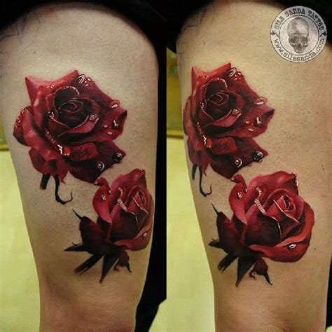 detailed rose tattoo amazing looking detailed colored thigh of