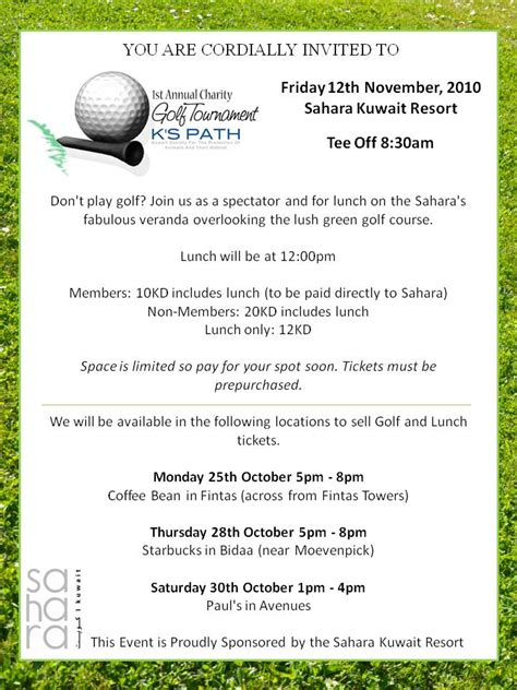 charity golf day invitation letter who do lunch in kuwait october 2010
