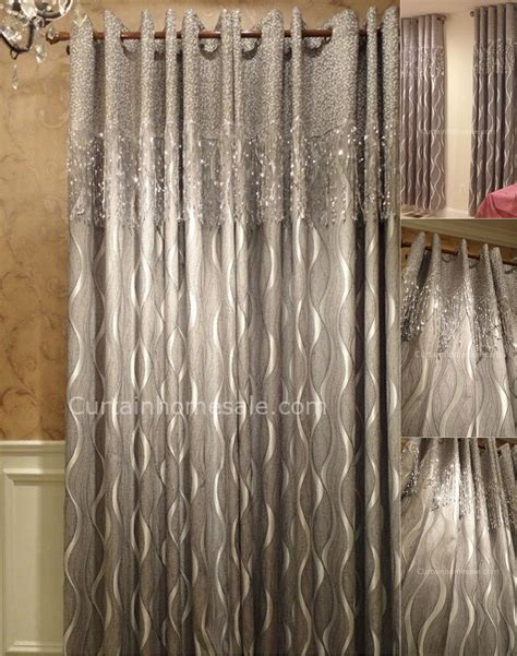 gray patterned curtains designer blackout curtain with geometric patterned silver