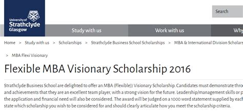 Mba Scholarships 2016 of strathclyde mba visionary