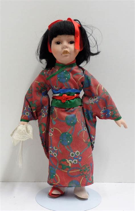porcelain doll japanese vintage porcelain doll in japanese kimono and missing one sl