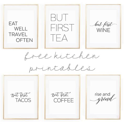 printable wall art free printable kitchen wall art 8x10 quot set of six prints