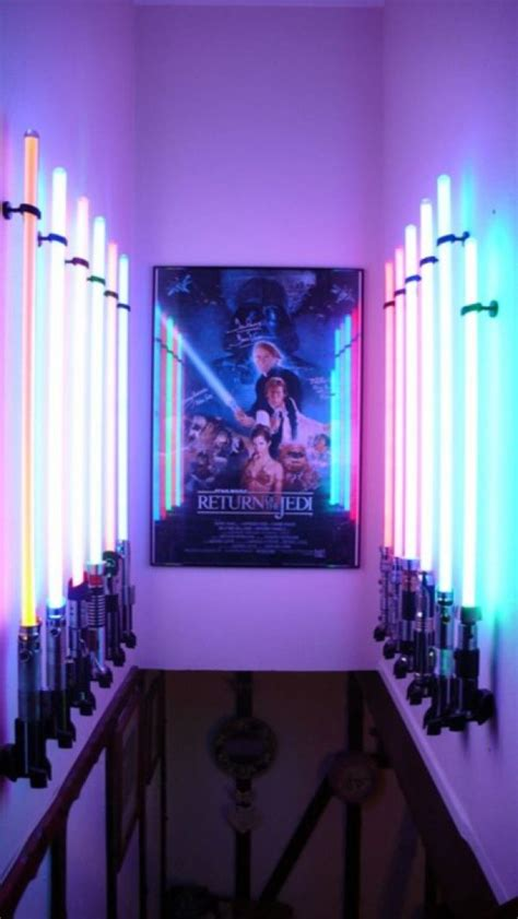 lightsaber bedroom light star wars lightsaber display room pic global geek news