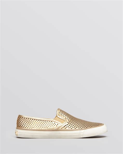 gold slip on sneakers burch flat slip on sneakers in gold mayan gold