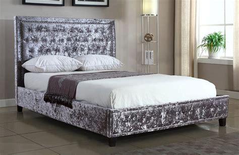 White Leather Studded Headboard Silver Crushed Velvet Upholstered Designer Bed Frame 4ft6