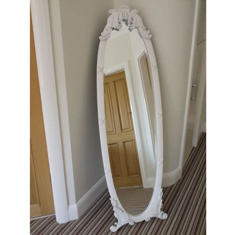 shabby chic mirror cheval mirror free standing bevelled glass full length white