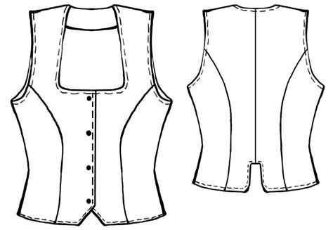 technical drawing free waistcoat sewing pattern 5017 made to measure