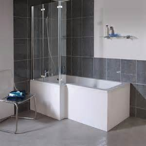 Milan Shower Bath 1700mm L Shaped With Double Hinged L Shaped Tub Shower Combo