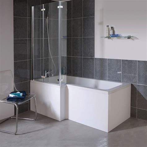 bath and shower milan shower bath 1700mm l shaped with hinged screen mdf panel at plumbing uk