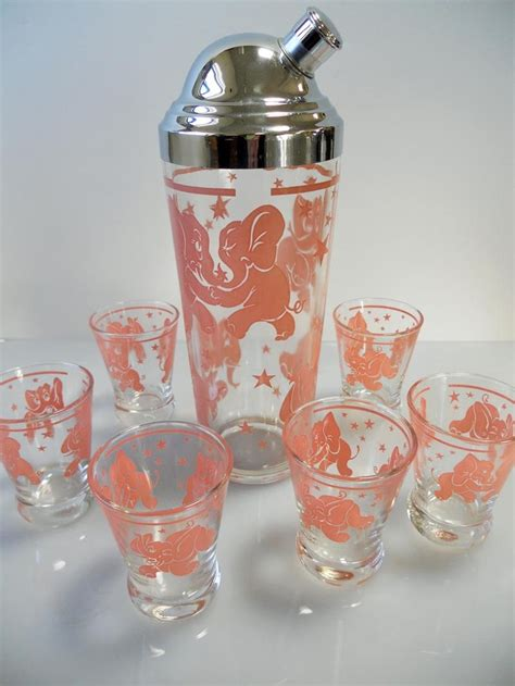vintage cocktail set treasury item vintage retro hazel atlas dancing pink
