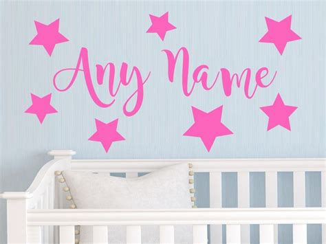 kids decals for bedroom walls personalized stars any name vinyl ᐊ wall wall sticker art