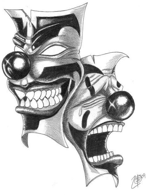 happy and sad clown mask black and white tattoo tattoo pm