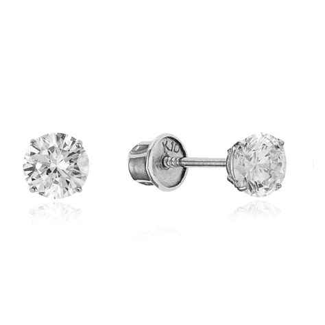 10k white gold clear stud children screwback baby