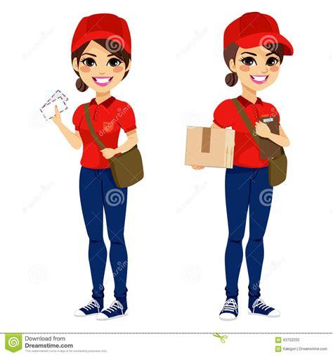 mail wimen at postwoman delivering mail parcel stock vector image