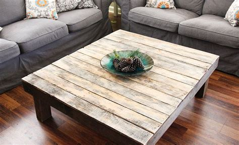 rustic reclaimed wood large square coffee table
