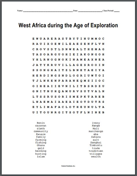 Age Search West Africa During The Age Of Exploration Word Search Puzzle Student Handouts