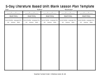 5 day literature based unit blank lesson plan template