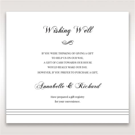 Wedding Gifts Classic Wishing Well And Registry Cards Hotel Accommodations For Wedding Guests Template
