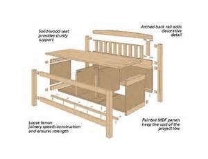 storage bench woodworking plans mudroom storage bench woodsmith plans