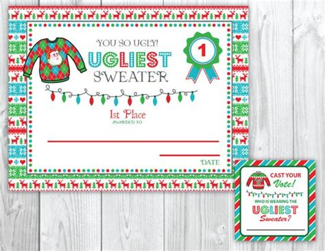 printable ugly sweater certificate no download sweater voting cards awards tacky