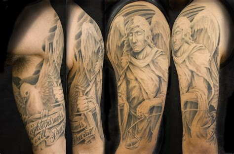 tr st tattoos ideas collection of 25 st michael half sleeve design