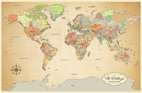 map of your travels cotton anniversary gift push pin world map by jwdesignstudio