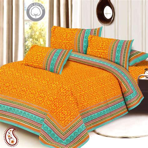 orange and gold bedroom aqua green orange gold print pure cotton double bed sheet