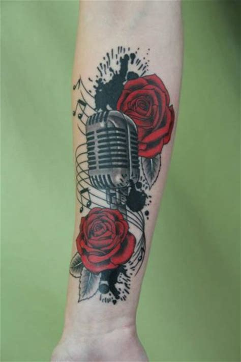 microphone skin tattoo ink spots roses and microphone tattoo by skin deep art