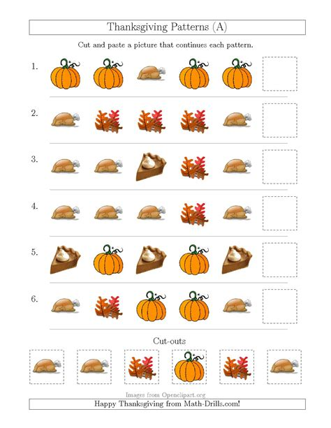 thanksgiving pattern worksheets kindergarten pattern thanksgiving worksheets festival collections