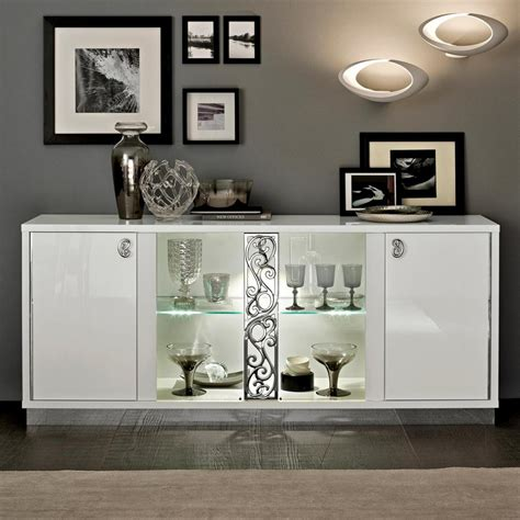 Sideboards With Glass Doors Caligula Italian White High Gloss 4 Door Sideboard 2 Glass Doors Cam Roma 135bv4 01bi 163
