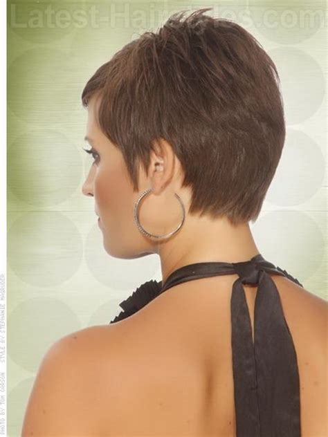 short hairstyles that are shorter in back than front back view of short haircuts