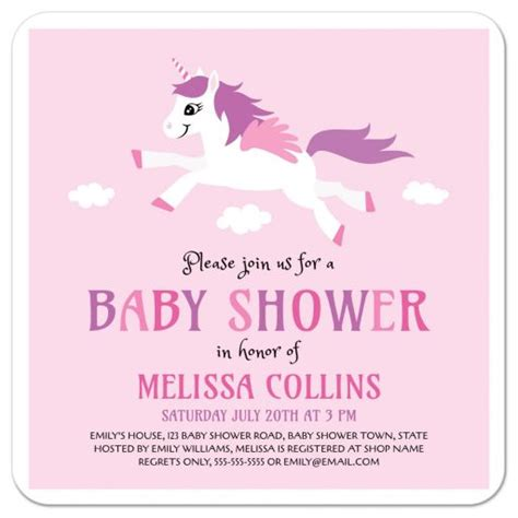 Pink And Purple Baby Shower Invitations by Unicorn Baby Shower Invitation Pink And Purple For