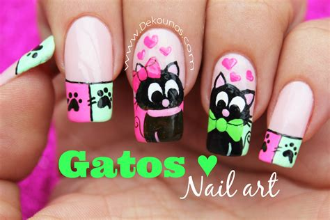 imagenes de uñas decoradas con rayas decoraci 243 n de u 241 as gatos enamorados cats inlove nail art