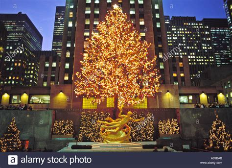 usa new york nyc rockefeller center with christmas tree