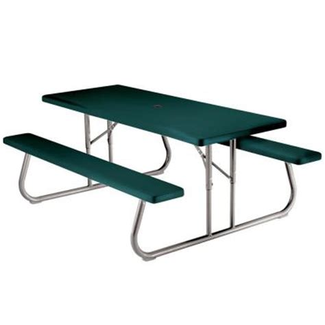 Picnic Tables At Home Depot by Lifetime 6 Ft Green Picnic Table 2123 The Home Depot