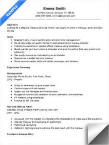 makeup artist resume sle resume exles artist resume artists and resume