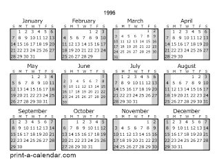 August 1996 Calendar 1996 Printable Calendars