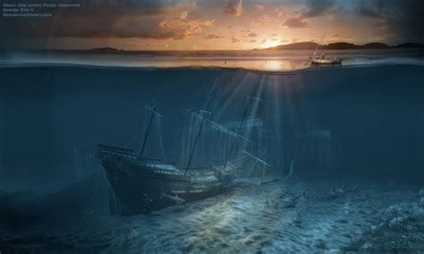 sunken ship 3d and cg abstract background wallpapers