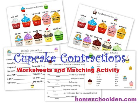 printable contraction games contraction worksheets and activity cupcake theme