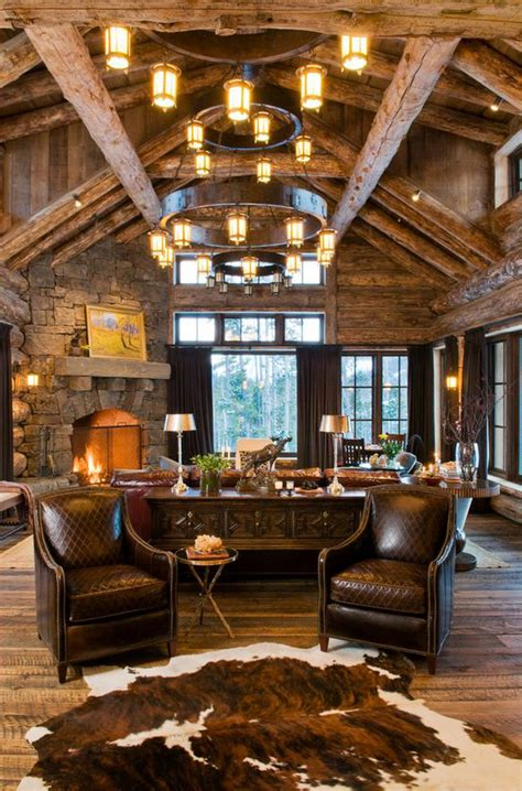 lodge living room rustic design ideas canadian log homes