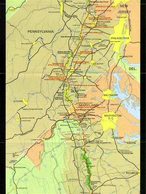 Appalachian Trail Section Maps by Appalachian Trail Pennsylvania Map