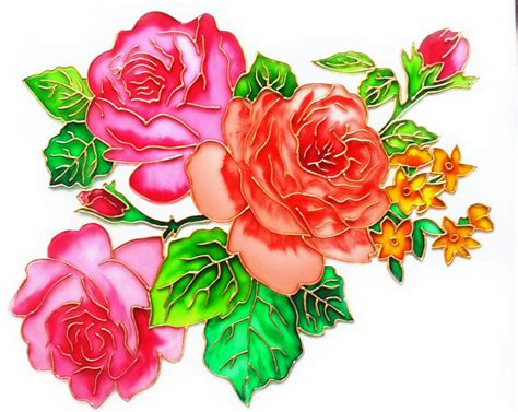 flower design for glass painting english roses glass painting glass art vitrage painting