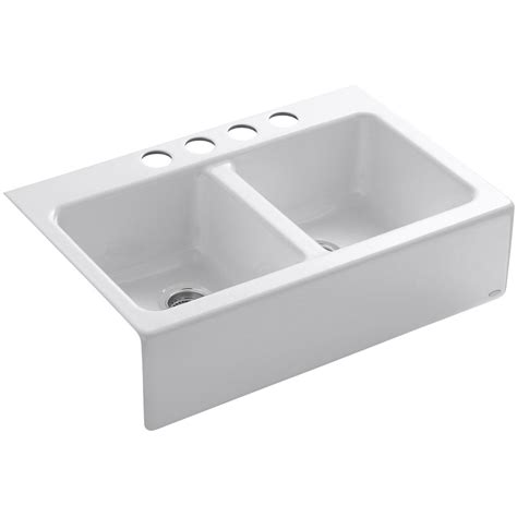 Apron Front Kitchen Sinks Kohler Hawthorne Cast Iron Apron Front Kitchen Sink 6534 4u