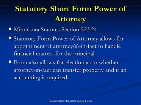 statutory short form power of attorney minnesota statutes section 523 23 lorman foundations of estate planning 07