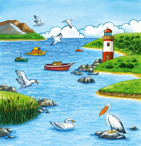 boats birds summer seascape with lighthouse and marine life stock