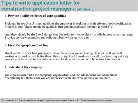 application letter project manager construction project manager application letter