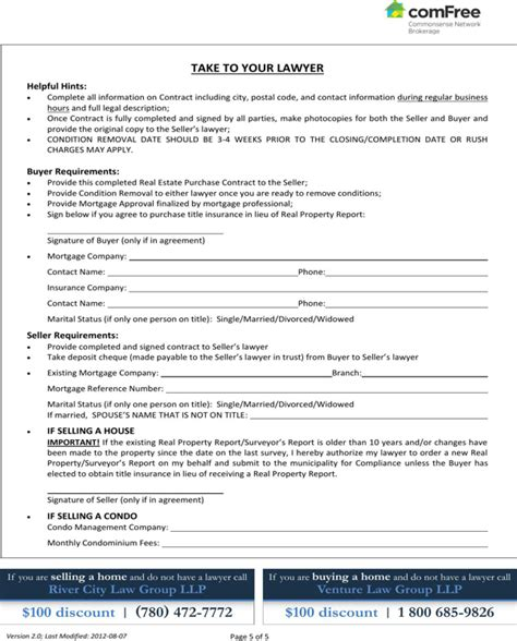 Download Ontario Real Estate Purchase Contract Form For Free Page 5 Formtemplate Purchase Agreement Ontario Template